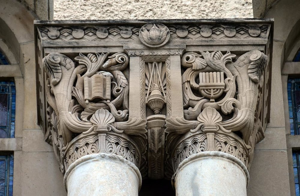 Architectural details of Loebl, Schlossman & Demuth's 1930 Temple Sholom. Photo by Eric Allix Rogers.