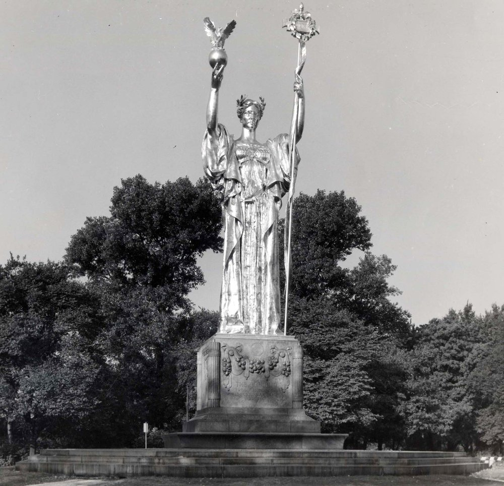 Statue of the Republic  in Jackson Park, 1956. Chicago Park District Records: Photographs, Special Collections, Chicago Public Library.