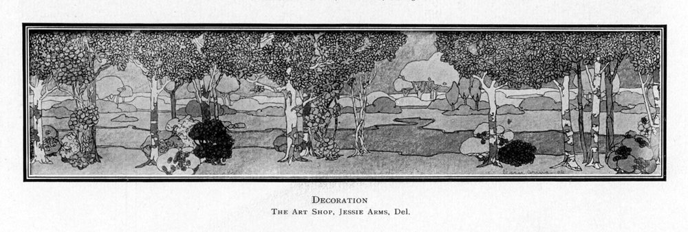 Rendering of a Jessie Arms mural in the Chicago Architectural Club Exhibition Catalog, 1907.