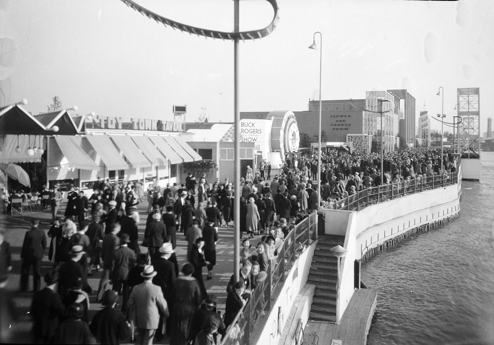 This view shows crowds at the Enchanted Island area of  A Century of Progress , looking south towards the Horticulture Building. Chicago Park District Records: Photographs, Special Collections, Chicago Public Library.