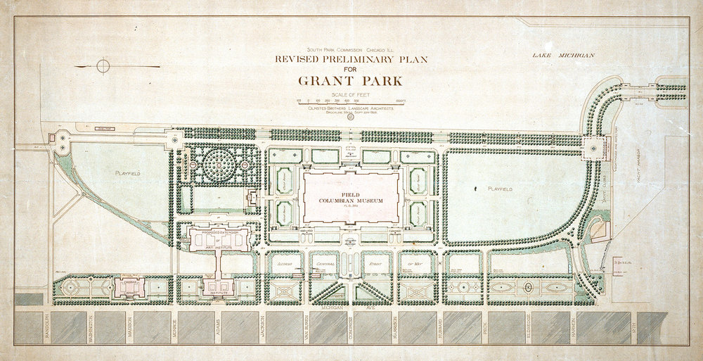 Revised Preliminary Plan for Grant Park, Olmsted Brothers, 1903. Chicago Park District Records: Drawings, Special Collections, Chicago Public Library.