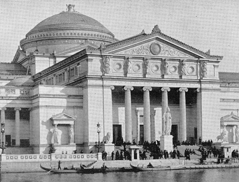 South façade of the Fine Arts Palace in Jackson Park with Lion Sculptures, 1893.