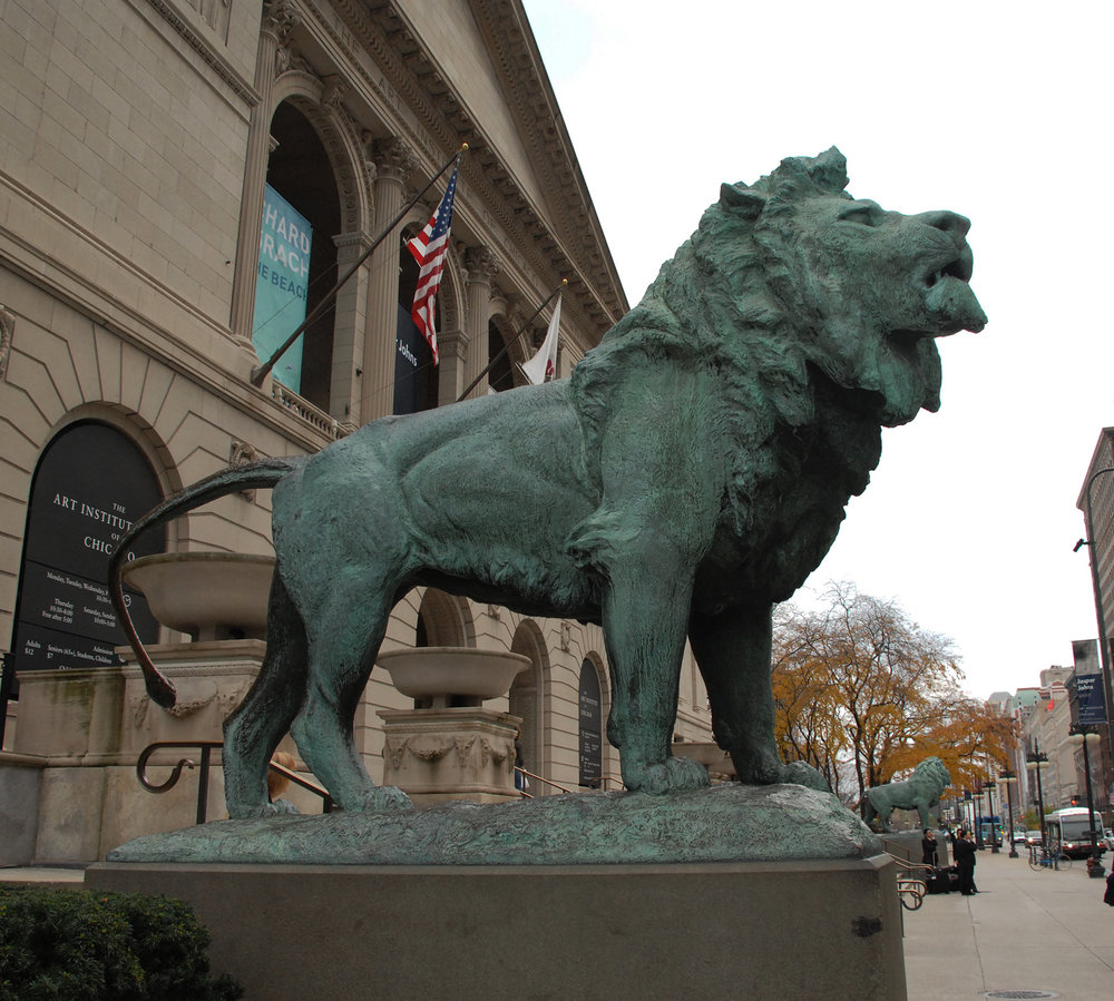 Edward Kemeys' bronze lions, 2007. Photo by Julia Bachrach.
