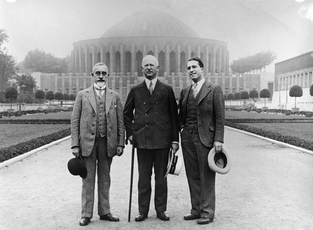 Max Adler (center) and architect Ernest A. Grunsfeld, Jr. (right) visited the Deutsches Museum with its founder, Oskar von Miller, ca. 1928. Courtesy of Adler Planetarium.