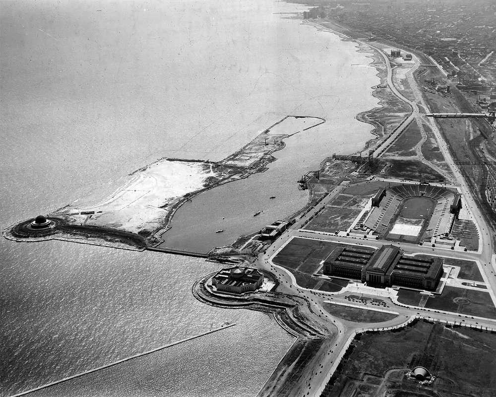 Aerial view of Northerly Island and Burnham Park, August, 1931.  Chicago Public Library Special Collections, Chicago Park District Archives, Photos.