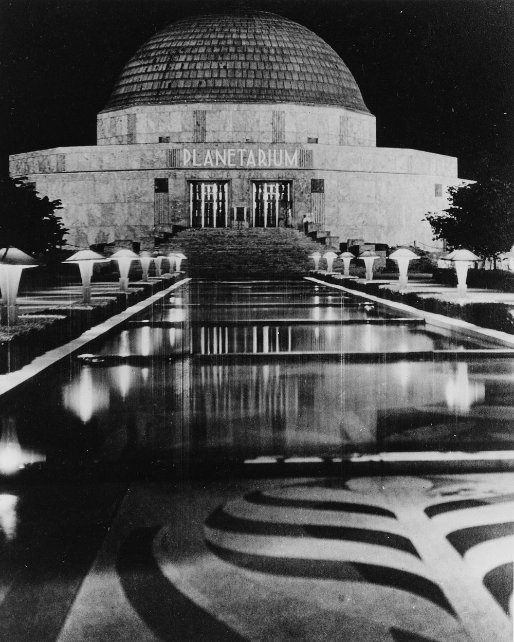 View of Terrazzo Esplanade and Adler Planetarium at Night, ca. 1935.  Chicago Public Library Special Collections, Chicago Park District Archives, Photos.