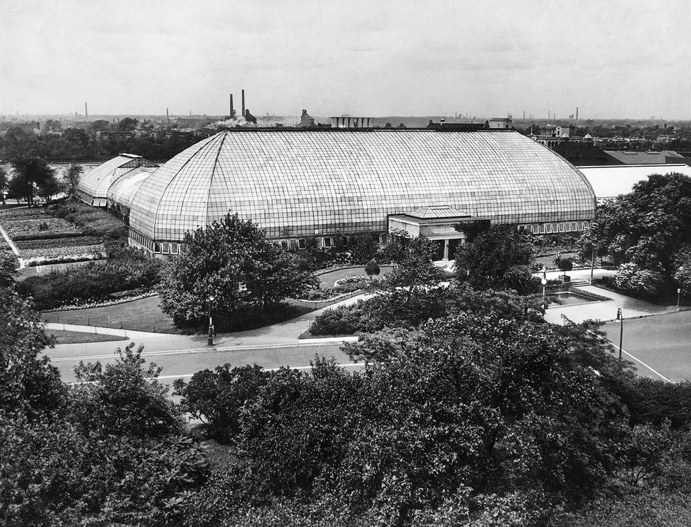 "View towards the front of the conservatory complex—the large ""haystack-shaped"" Palm House made the facility look entirely different than other public greenhouses in Chicago and elsewhere, ca. 1930.  Chicago Public Library Special Collections, Chicago Park District Archives, Photos."