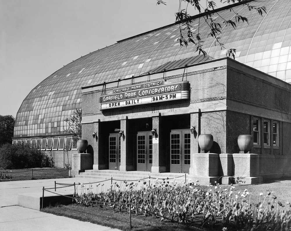 The Garfield Park Conservatory's original entry vestibule was designed by architects Schmidt, Garden & Martin, ca. 1935.  Chicago Public Library Special Collections, Chicago Park District Archives, Photos.