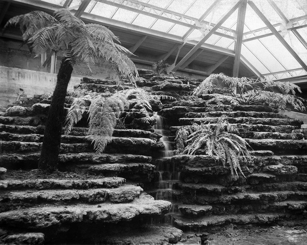 This view shows the Fern Room waterfall before plants were installed between the crevices of the stonework, ca. 1907.  Chicago Public Library Special Collections, Chicago Park District Archives, Photos.
