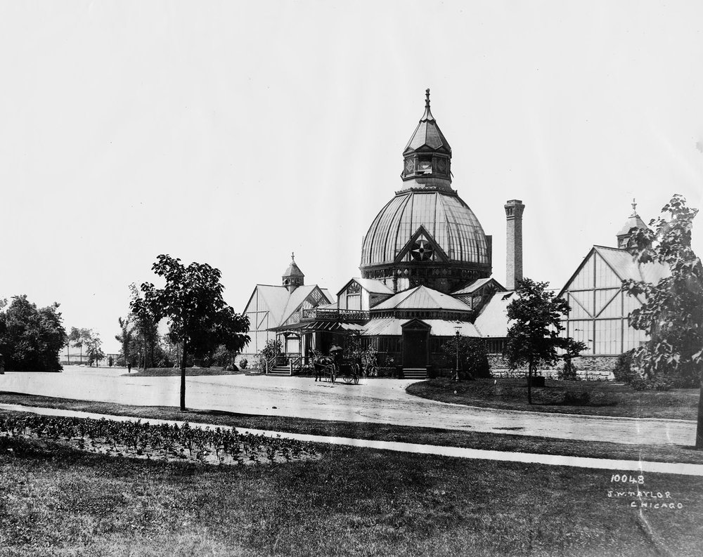 View of Garfield Park's Victorian domed conservatory ca. 1890.  Courtesy of Chicago History Museum iChi-51149.