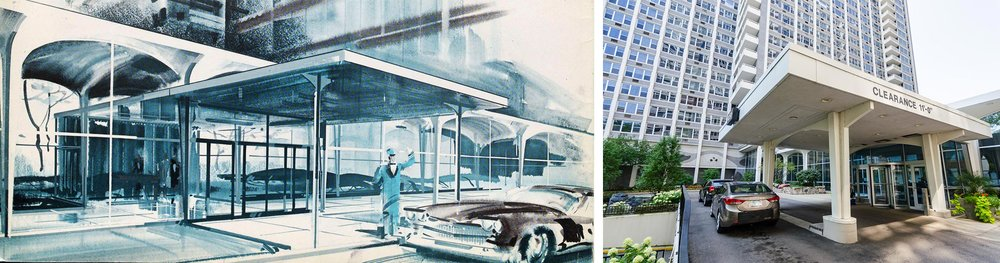 Left: Accommodations for car owners represented a major priority in the Imperial Towers' design.  Imperial Towers: A World Apart,  marketing pamphlet. Art Institute of Chicago, Ryerson & Burnham Archives. Right: Contemporary view of Imperial Towers' front canopy and drop off area. Photo by Eric Allix Rogers.