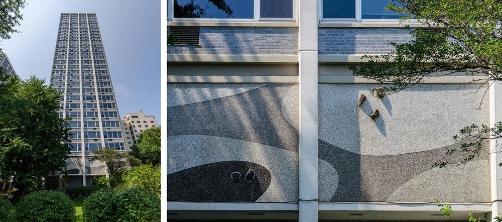 Left: North Tower. Photo by Eric Allix Rogers. Right: Close-up of the abstract mosaic panels that are evocative of Japanese garden elements. Photo by Eric Allix Rogers.