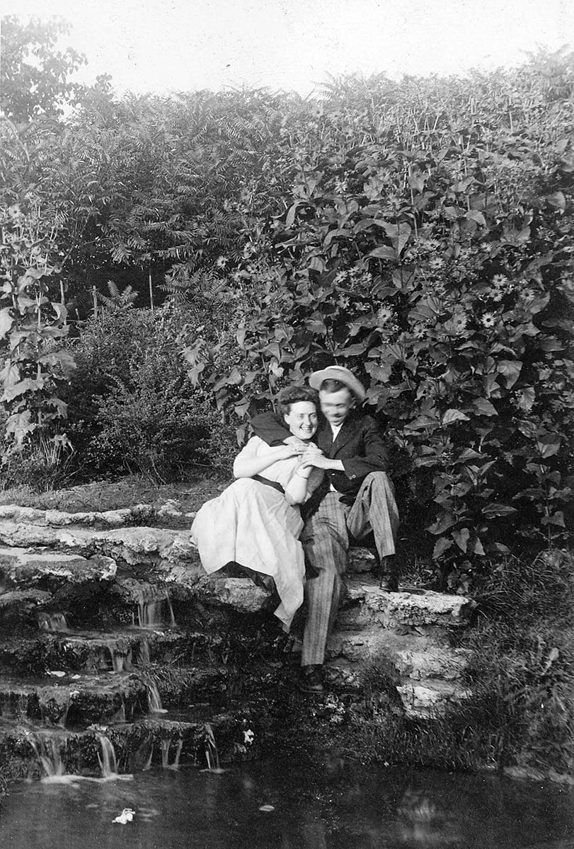 Couple sitting near a rocky cascade in Humboldt Park, ca. 1912. Chicago Park District Records: Photographs, Special Collections, Chicago Public Library.