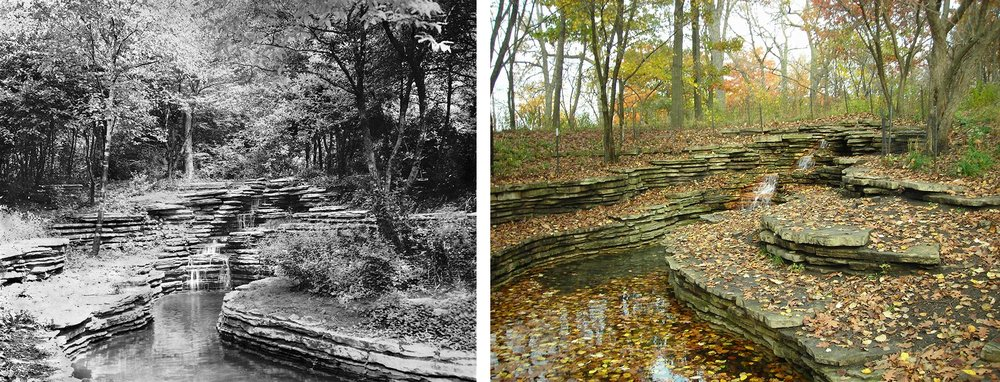 Left: View of Columbus Park Waterfall, ca. 1930. Chicago Park District Records: Photographs, Special Collections, Chicago Public Library. Right: View of Columbus Park Waterfall, 2017. Photo by Julia Bachrach.