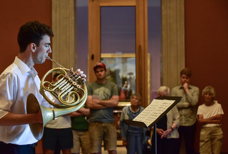 "David Alexander plays ""Shadowplay"" during the Composers at the Museum event at the Bowdoin Museum of Art, July 2018. Photo credit: Acadia Mezzofanti"