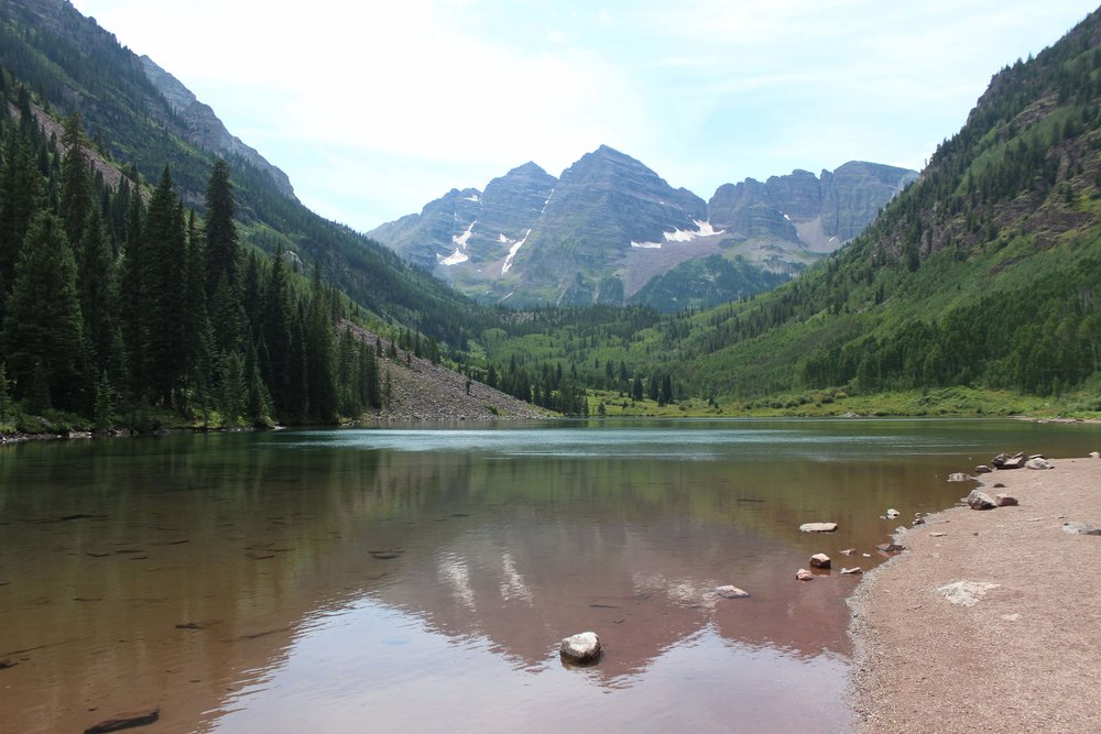 The famous view of the Maroon Bells in Aspen