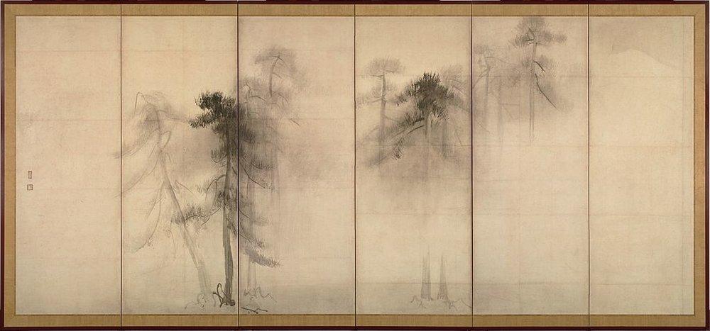 "HASEGAWA TŌHAKU (1539-1610)  ""Pine Trees""  - (Shōrin-zu Byōbu"" c.1593) LEFT SCREEN"
