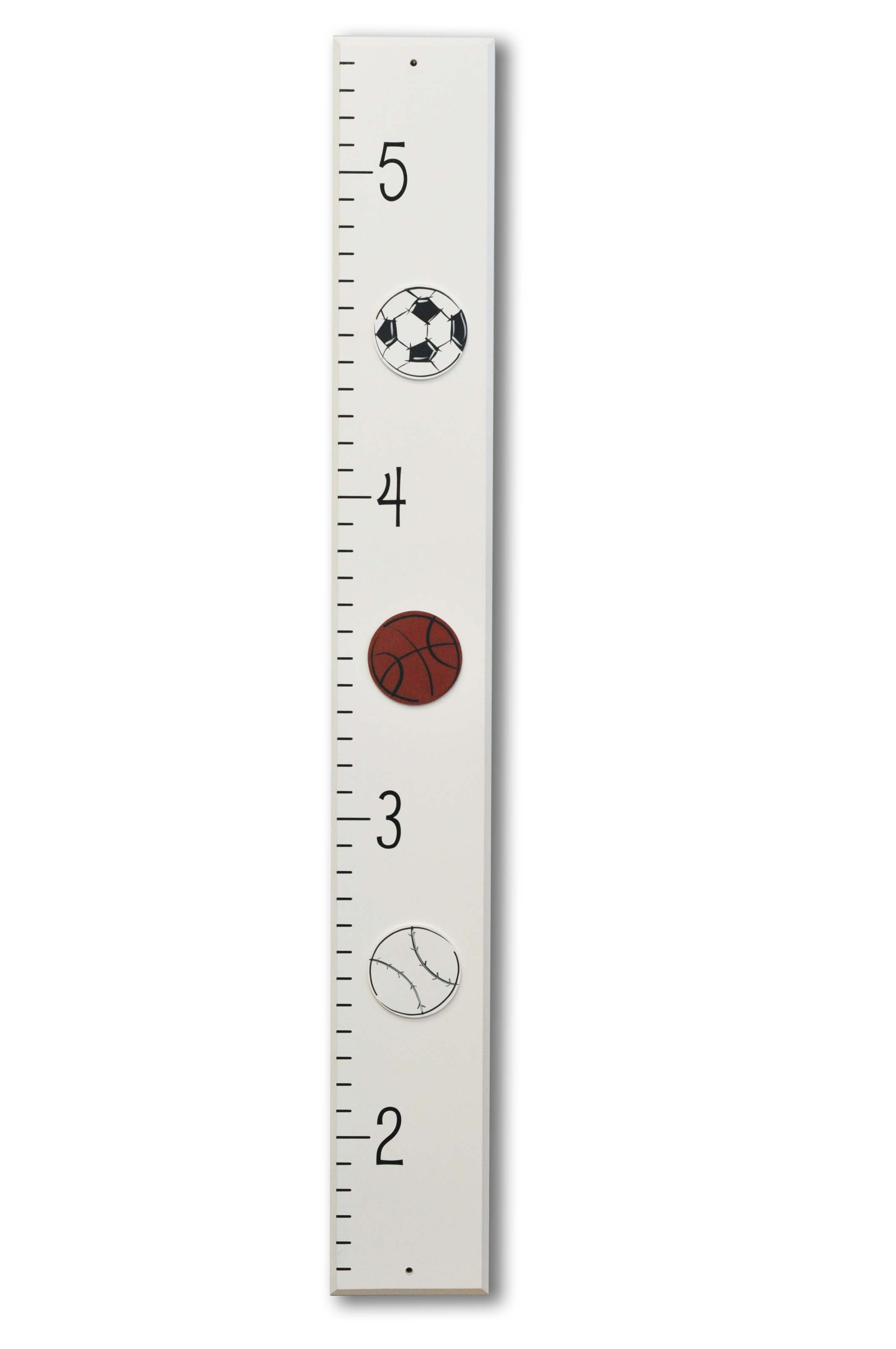 Sports Themed Room Growth Chart, soccer, basketball, baseball