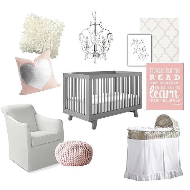 Lily & Spice Grey and Pink Baby Girl Nursery Inspiration Board