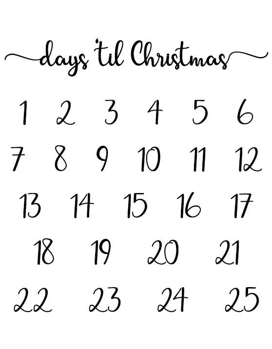 image relating to Christmas Countdown Printable named Xmas Countdown Absolutely free Printable Homeworks And many others Strategies