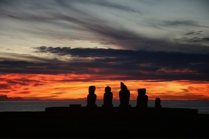 Tahai archeologica site as sunset