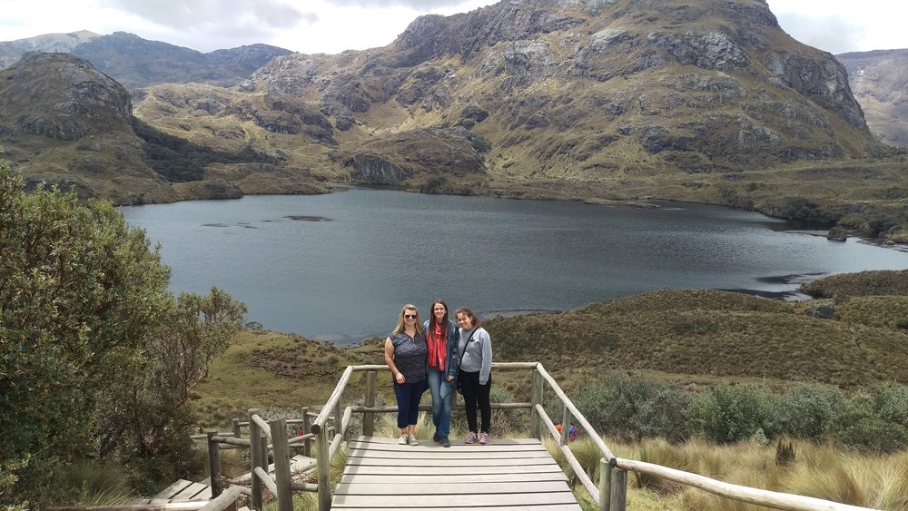 Enjoying Ecuador's scenery with Jasmine and Sherrie Martin (Sherrie was only able to stay for 2 weeks.