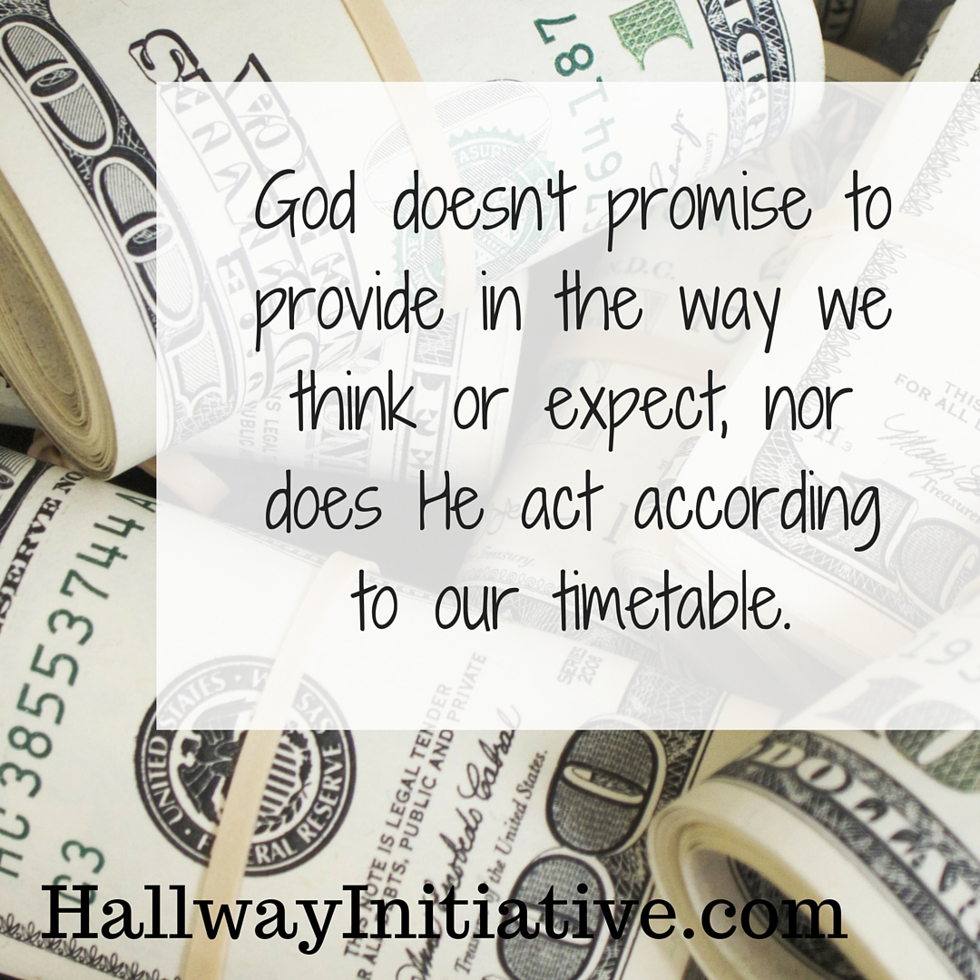 God doesn't promise to provide in the way we think or expect