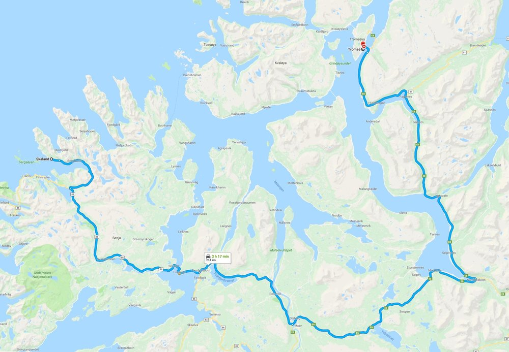 travel map - Tromso to Senja