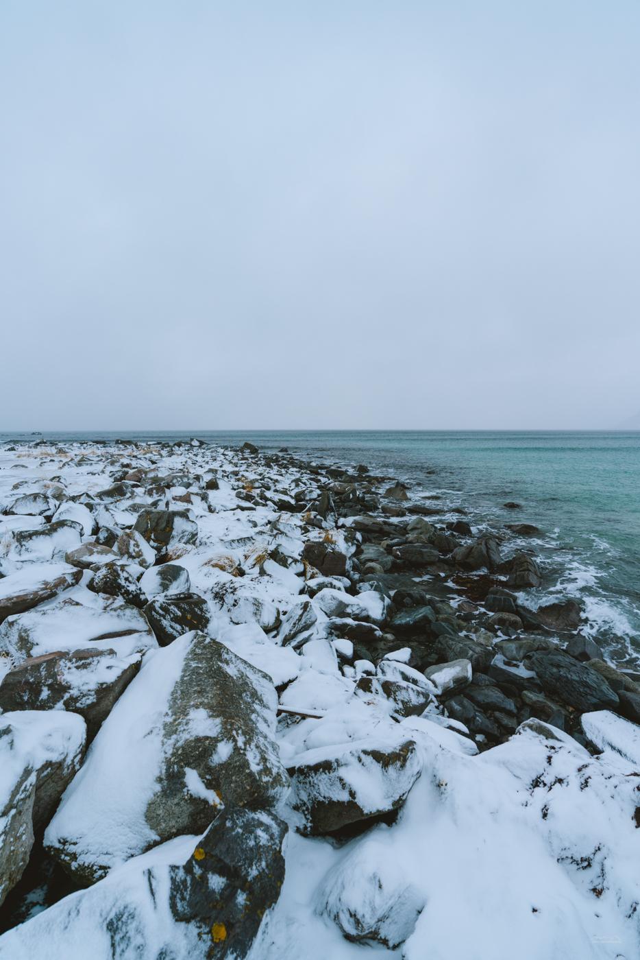 Moody Skagsanden beach in Lofoten