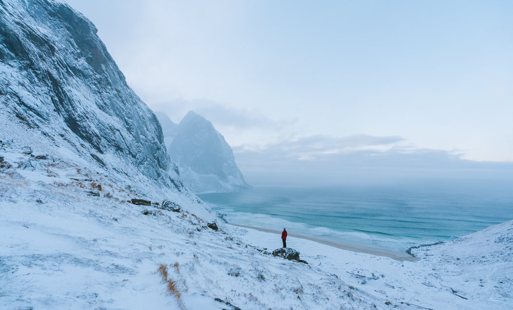Kvalvika Beach, Lofoten, Norway in winter from up above