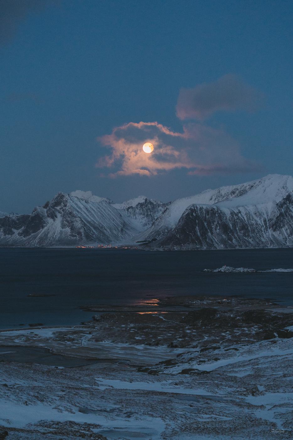 Blue blood moon at Ryten, Lofoten, Norway