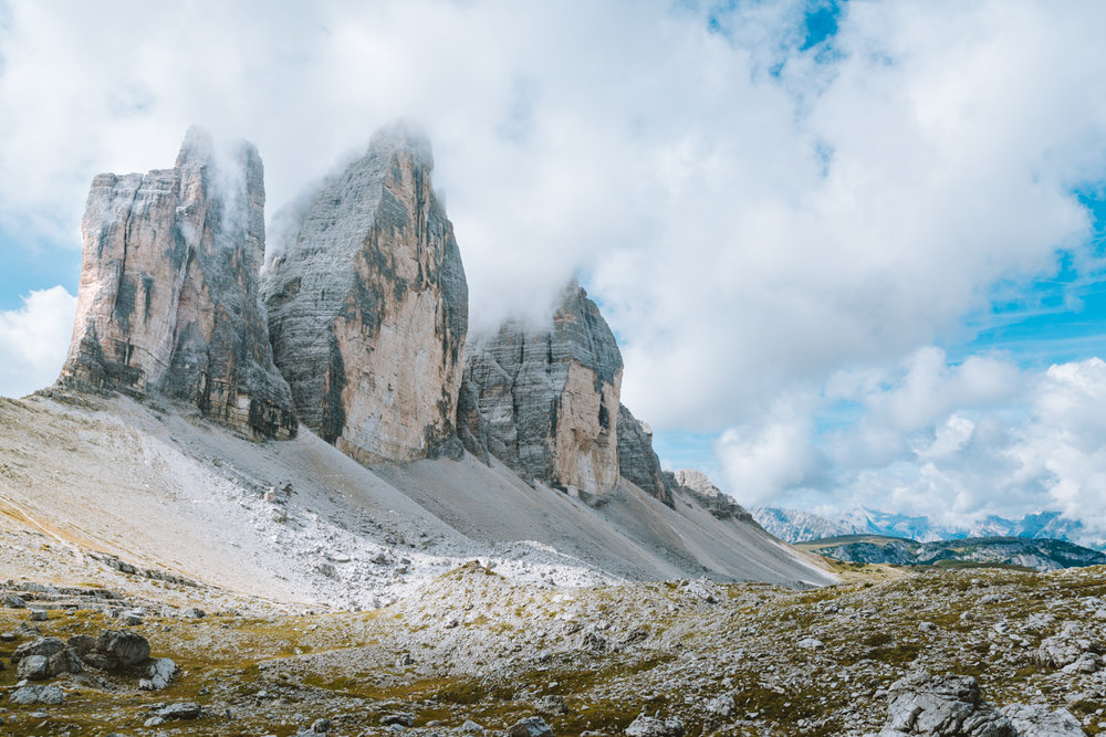 Travel photography of the Tre Cime di Lavaredo