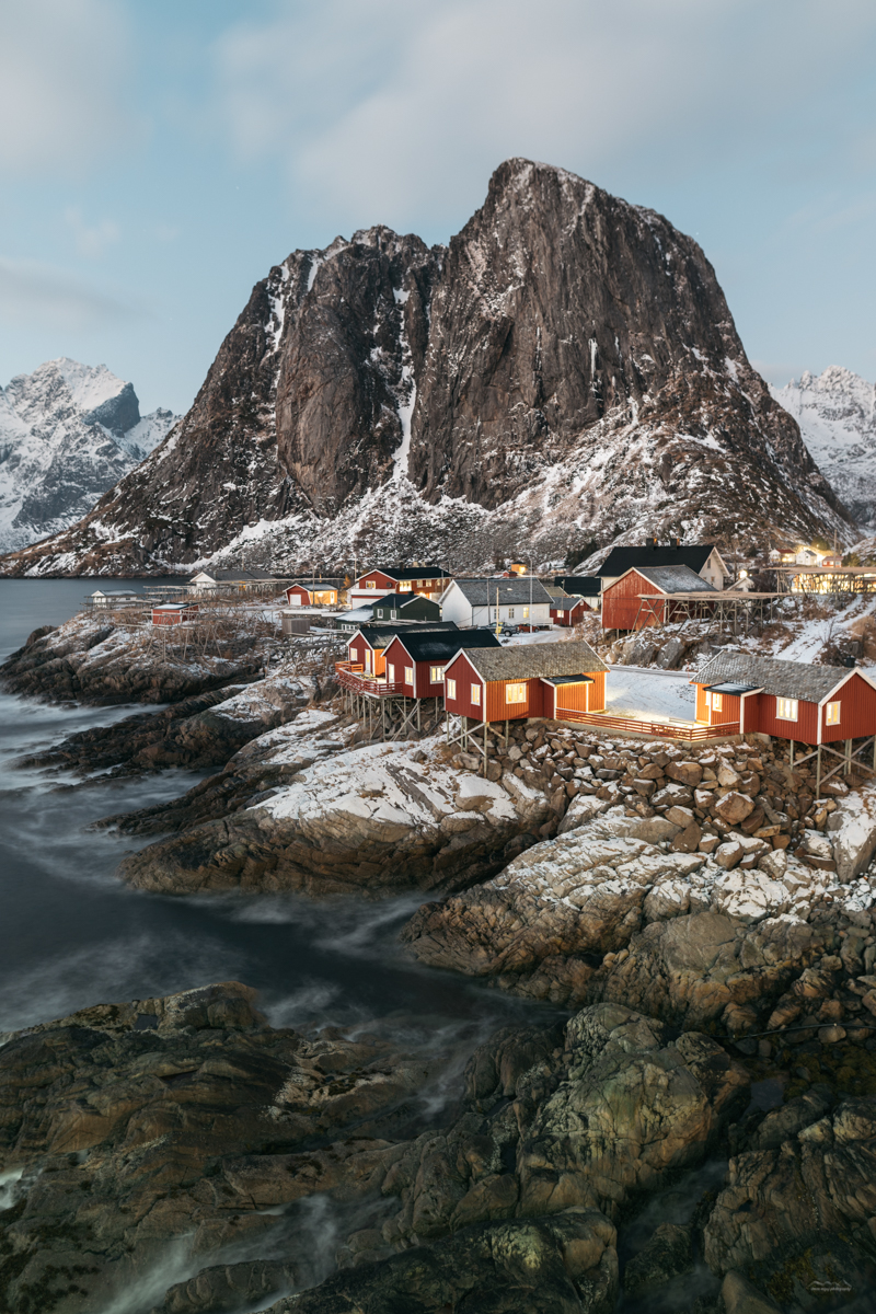 The famous red huts in Hamnøy