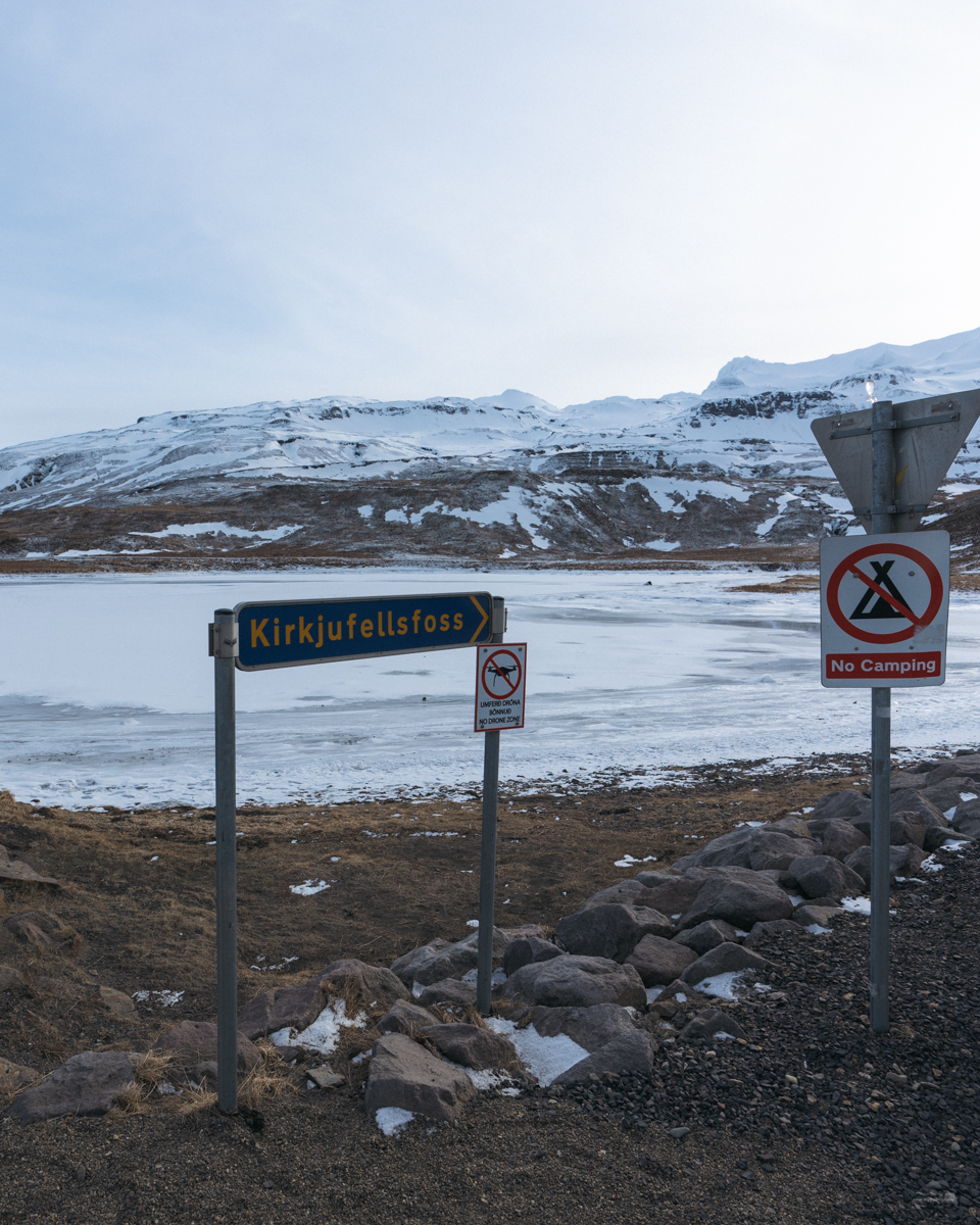 Sign leading you towards Kirkjufellfoss