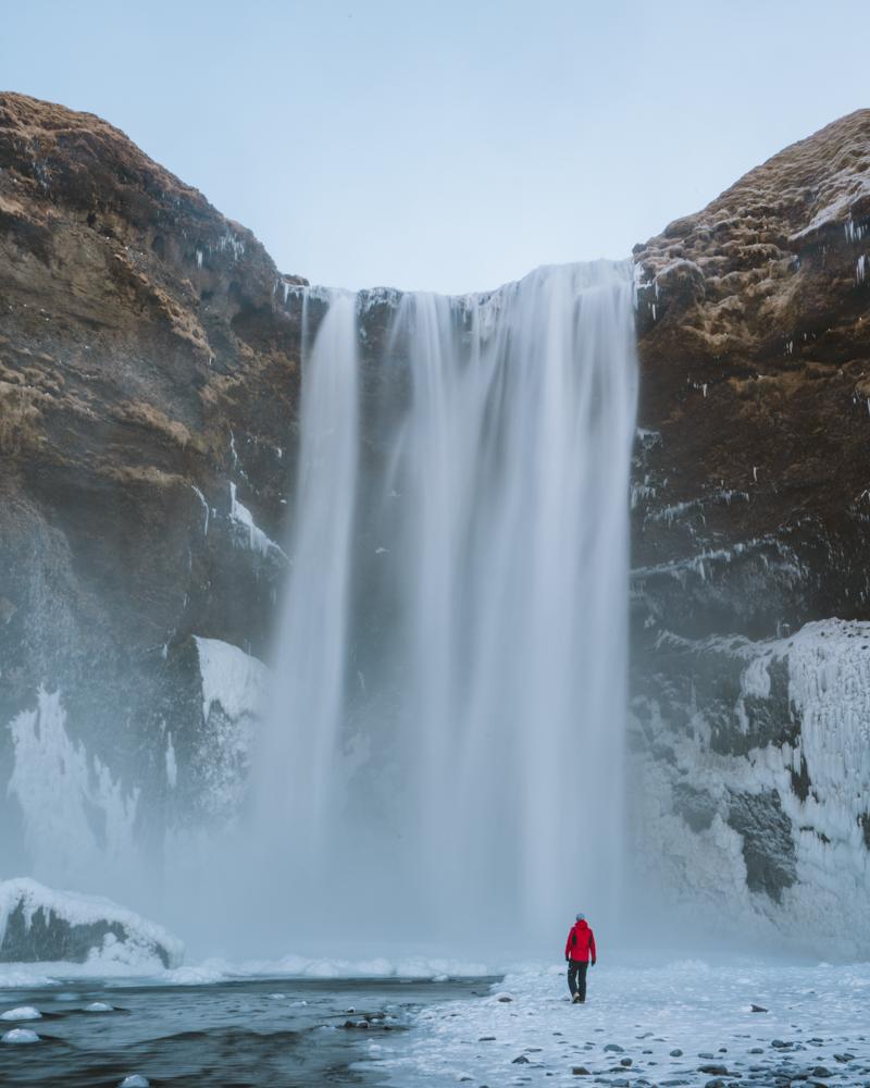 Underneath the Skógafoss waterfall