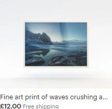 Fine art print of waves crushing against the beautiful Norwegian coast of Kvalvika Beach in Lofoten