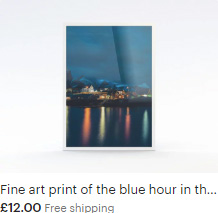 Fine art print of the blue hour in the picturesque village of Sakrisøy in the Lofoten Isles, Norway