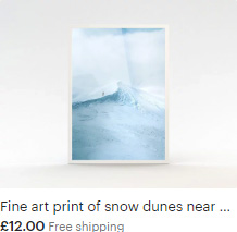 Fine art print of snow dunes near Mont Blanc