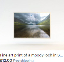 Fine art print of a moody loch in Scotland