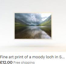 Fine art print of a moody loch in Scotland