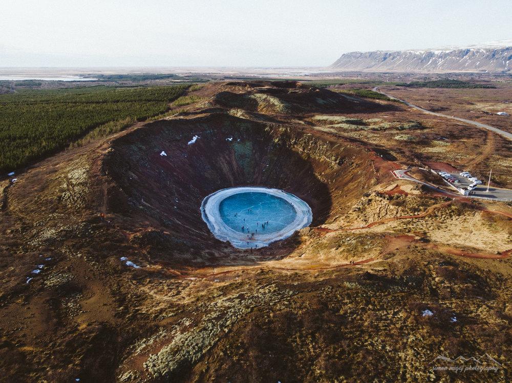 Kerið aerial photography