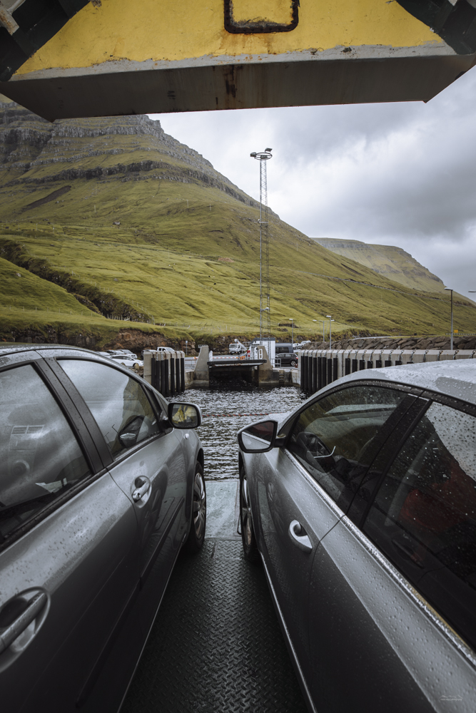 Cars being dropped off in Syðradalur, Kalsoy