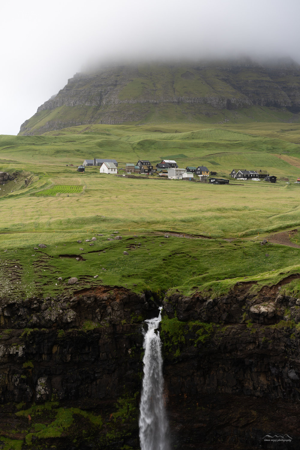 Múlafossur waterfall and Gasadalur village