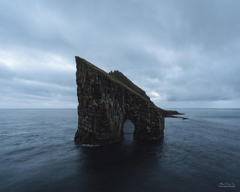 The rock of Drangarnir, Faroe Islands