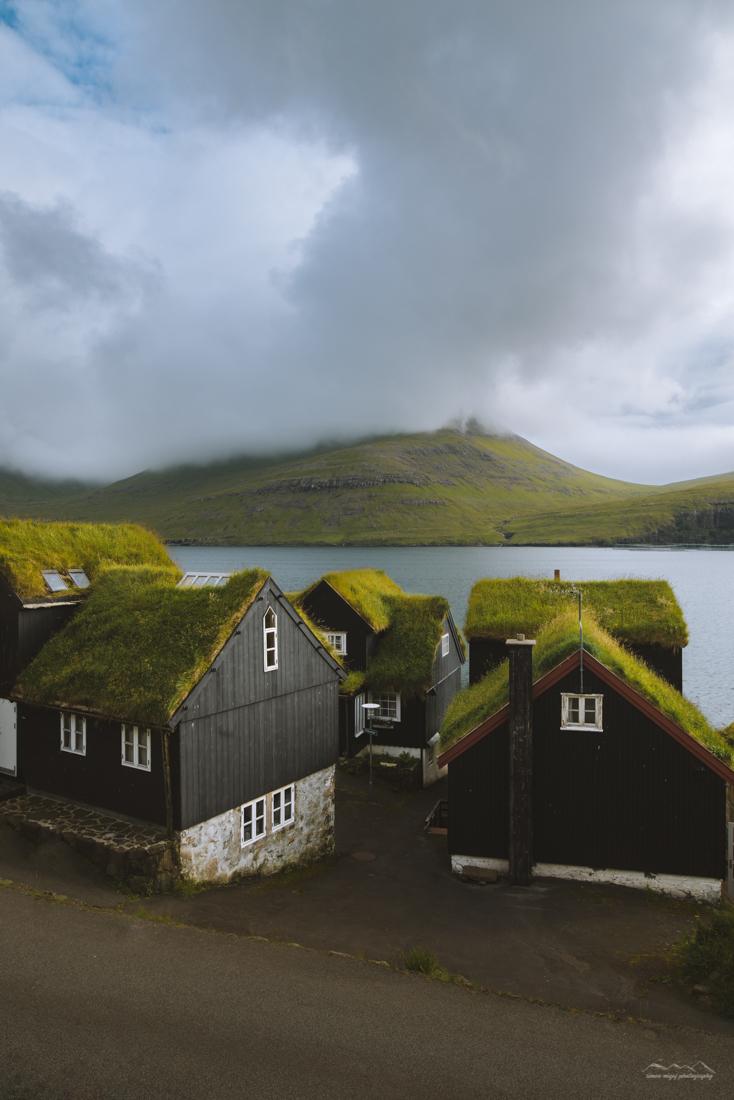 Picturesque houses in Bøur, Faroe Islands