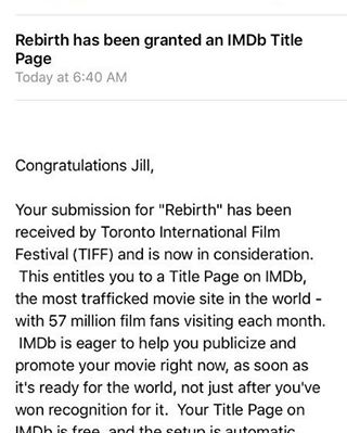 So excited to announce that Rebirth now has an official IMBD page. Go check us out at www.imdb.com! #tiff #imdb #rebirth #makingmoves