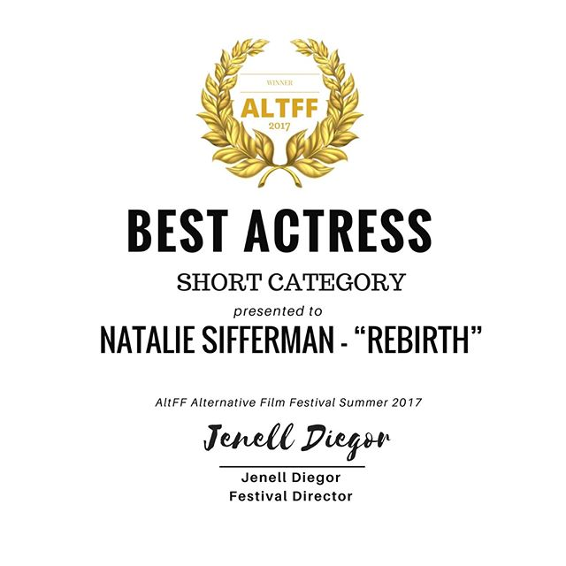 Congratulations to our very own lead actress @NatalieSifferman for winning Best Actress at AFF!