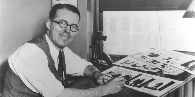 Chester Gould in his Tribune Tower studio in mid-February, 1932.