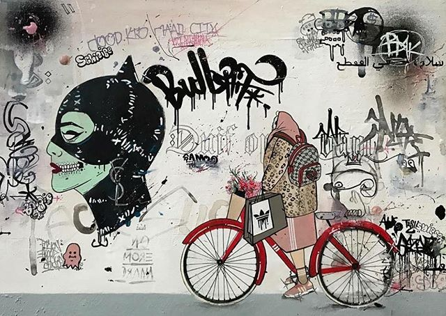 #TBT: How good is @ladyjladyjladyj's mural for the @stayflysydney 'How We Roll Group Exhibition' 🚴🚴⠀ .⠀ .⠀ .⠀ .⠀ .⠀ #art #australia #illustration #graphic #dailyart #drawing #painting #instaart #sketch #artgallery #pencilart #artistic #artist #artsy #instaartist #talent #fostered #creative #design #bright #mural #commission #street #murals #artwork