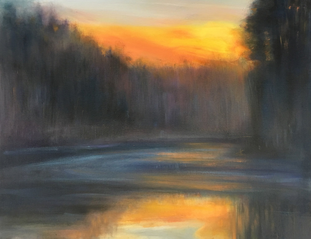 Jim Schantz,  Winter Housatonic Sunset , 2016, Oil on canvas, 14 x 18""
